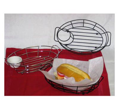 Vollrath WB-8007 Oval Wire Serving Basket with Holder - Chrome