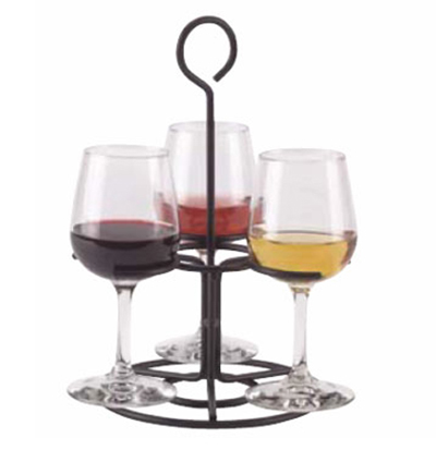 Vollrath WR-1027-06 Circular Wire Stemware Flight Caddy - Holds 3 Glasses, Black