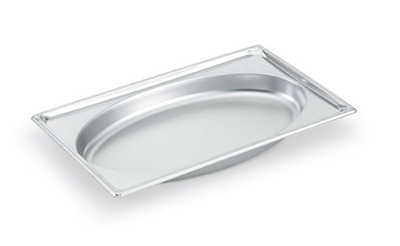 "Vollrath 3101040 Steam Table Oval Pan - Full Size, 4"" Deep, 22-ga Stainless"