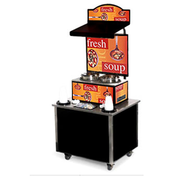 Vollrath 3702805 Soup Kiosk Merchandiser with Seaside Graphics - Cup/Bowl Dispenser, 34x28x78