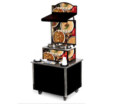 Vollrath 3702807 Soup Kiosk Merchandiser with Variety Graphics - Cup/Bowl Dispenser, 34x28x78