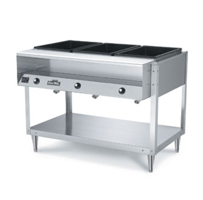 Vollrath 38117 3-Well Hot Food Table - (3)Thermostat, Plate Rest, Cutting Board, 208-240v