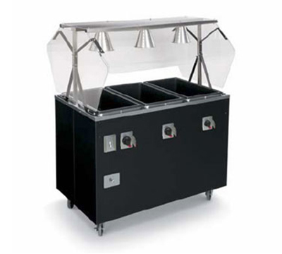 Vollrath T38708 3-Well Hot Food Station - Open Base, Thermostat, Manifold Drain, Black 120v