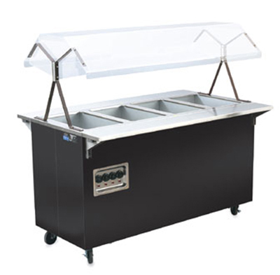 "Vollrath 38710 4-Well Hot Food Station - Breath Guard, Solid Base, 60x24x57"" Black 120v"