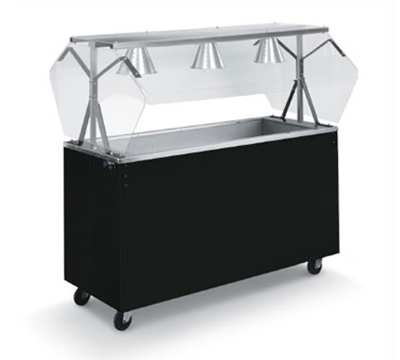 Vollrath 38715 3-Well Cold Food Station - Breath Guard, Non-Refrigerated, Black Storage Base