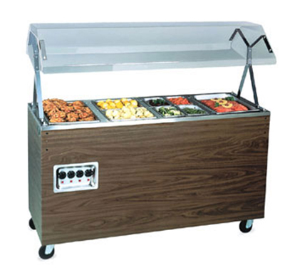 "Vollrath 38771 4-Well Hot Food Station - Breath Guard, Open Base, 60x24x57"" Cherry 120v"