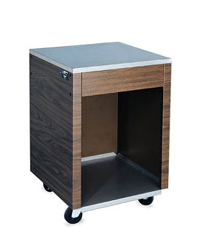 "Vollrath 38905 Cashier Station - 35x24x24"" Open Base with Shelf, Walnut Wrapper, Stainless"