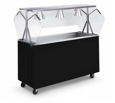 Vollrath 3895146 3-Well Cold Food Station - Lights, Guard, Non-Refrigerated, Open Base, Walnut