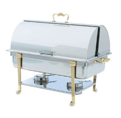 Vollrath 46051 9-qt Oblong Chafer - Full-Size, Brass Trim, Rol