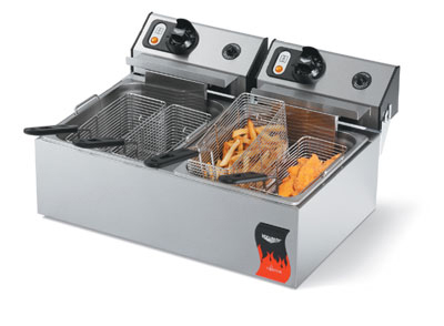 Vollrath 40708 Countertop Fryer - Double 10-lb Pots, Thermostat, Stainless 220v