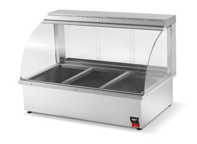 "Vollrath 40732 43"" Countertop Hot Food Merchandiser - 6-Pan Capacity, Rear Doors Stainless 110v"