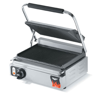 Vollrath 40794 Panini Sandwich Press - Smooth, Cast-Iron Plates, Thermostat, Stainless 120v