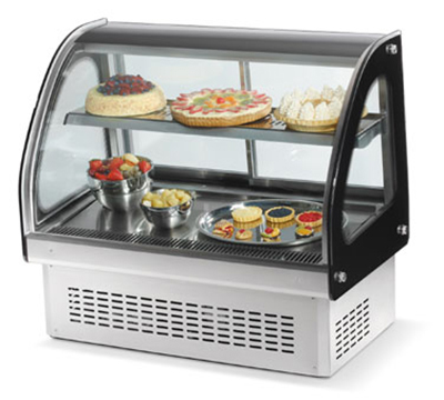 "Vollrath 40842 36"" Refrigerated Display Cabinet - Glass Front, 2 Shelves, .55HP 110v"