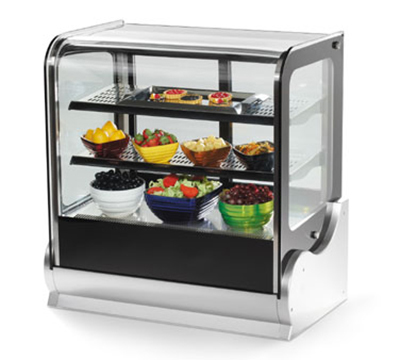 "Vollrath 40865 36"" Cubed Glass Countertop Heated Display Cabinet - 3 Shelves, 120v"
