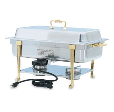 Vollrath 46040 9-qt Oblong Chafer - Full-Size, Long-Side Plug, Brass-Trim, Stainless