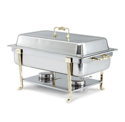 Vollrath 46050 9-qt Oblong Chafer - Full-Size, Brass Trim, Dome Cover, Stainless