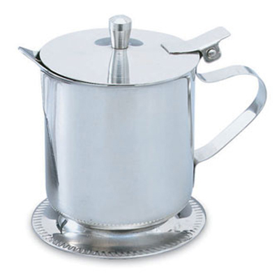 Vollrath 46205 5-oz Creamer - Hinged Cover, Mirror-Finish Stainless