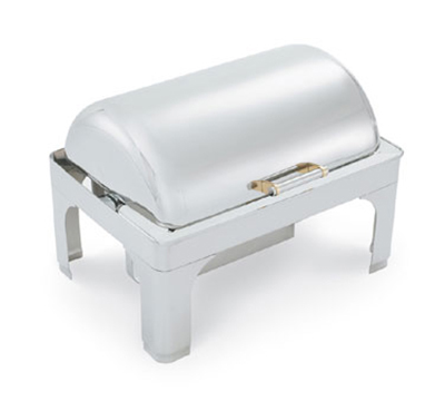 Vollrath 48755 9-qt Retractable Rectangle Chafer - Dome Cover, Brass Accent, Silverplated
