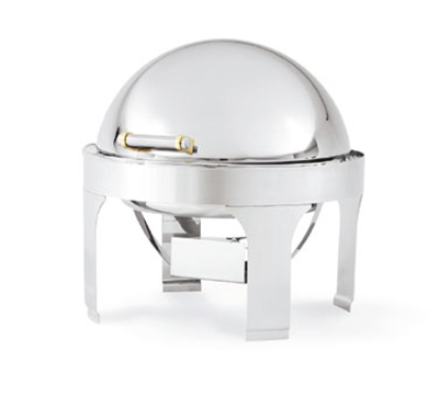 Vollrath 48765 6-qt Round Chafer - Dome Cover, Brass Accent, Silverplated