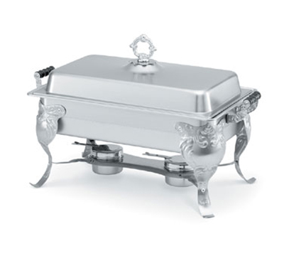 Vollrath 46880 9-qt Oblong Chafer with Stand - Wood Handles, Dome Cover, Stainles