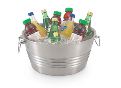 Vollrath 47226 Round Small Tabletop Beverage Bin - Stainless