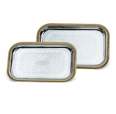 Vollrath 47266 Rectangular Serving Tray - Brass Accent, 19-2/3x143&q