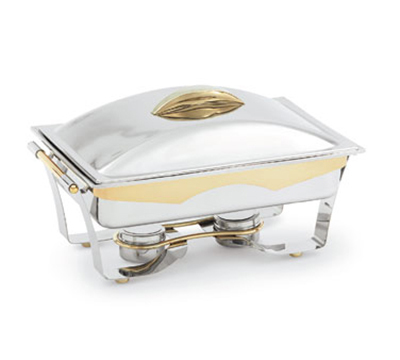 Vollrath 48322 9-qt Rectangle Chafer - 24K Gold Accent, Cover Holder, Mirror-Finish Stainless
