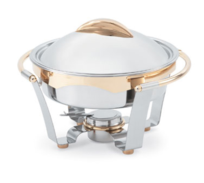 Vollrath 48324 6-qt Round Chafer - 24K Gold Accent, Mirror-Finish Stainless