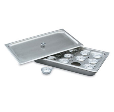 Vollrath 75060 Egg Poacher/Juice Glass Holder - Full-Size, Pan, Plate, Cover, 15 Cups, Stainless
