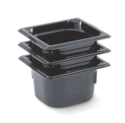 "Vollrath 8062420 1/6 Size Food Pan - 2-1/2"" Deep, Low-Temp, Black Poly"