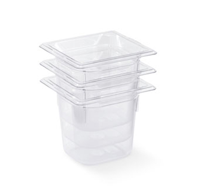"Vollrath 8062410 1/6 Size Food Pan - 2-1/2"" Deep, Low-Temp, Clear Poly"