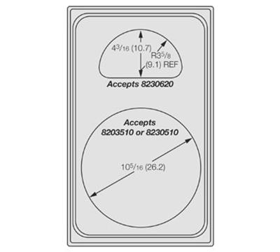 "Vollrath 8241410 Miramar Template - (1) Casserole and (1) 1/2 Oval Pan, 12x20"" Night"