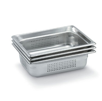 "Vollrath 90223 Steam Table Pan - Perforated, Half Size, 2-1/2"" Deep, Stainless"