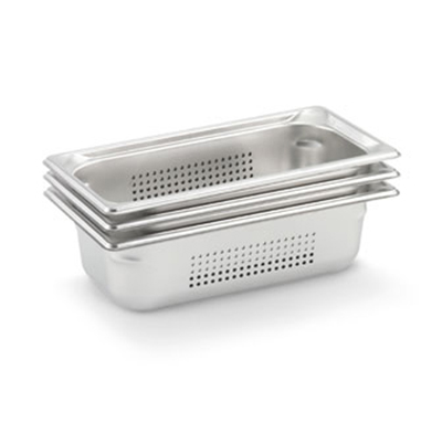"Vollrath 90323 Steam Table Pan - Perforated, 1/3 Size, 2-1/2"" Deep, Stainless"