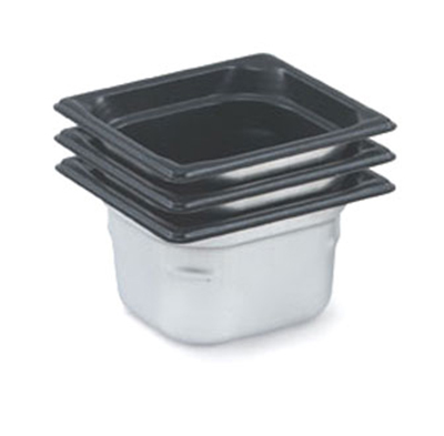 "Vollrath 90647 Steam Table Pan - Black Coating, 1/6 Size, 4"" Deep, Stainless"