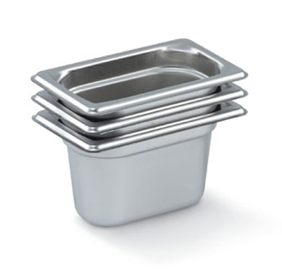 "Vollrath 90922 Steam Table Pan - 1/9 Size, 2-1/2"" Deep, Stainless"