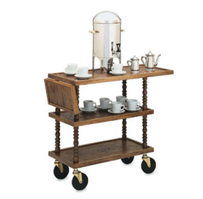 "Vollrath 97036 Captains' Cart Service Cart - 39-3/8x16-5/32x32-1/2"" Brass/Wood"