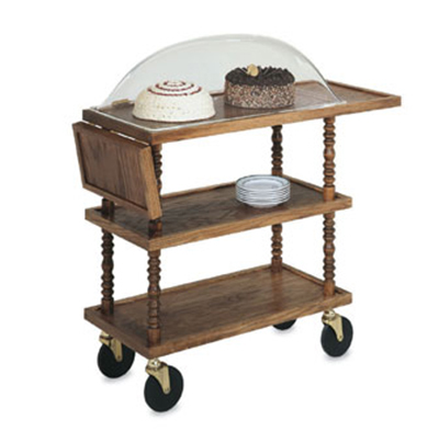 "Vollrath 97037 Dessert Service Cart with Dome - 46-3/8x16-5/32x41-1/2"" Brass/Wood"
