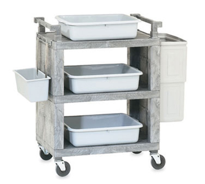 Vollrath 97111 3-Shelf Utility Cart - 200-lb Capacity, Closed End, Gray Plastic