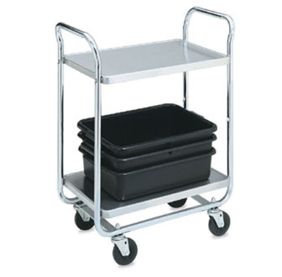"Vollrath 97161 2-Shelf Utility Cart - 500-lb Capacity, 40-1/2x21x36-1/4"" Chrome-Plated Stainless"