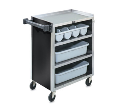 "Vollrath 97180 4-Shelf Paneled Bussing Cart - 300-lb Capacity, 27-1/2x15-1/2x33-5/8"" Black"