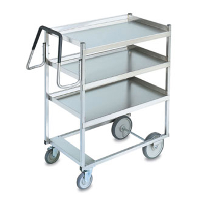 Vollrath 97201 3-Shelf Utility Cart - 650-lb Capacity, Raised Lower Shelf, Stainless