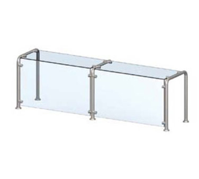 Vollrath CB98662 Breath Guard with Top Shelf for 2-Well Single-Sided Buffet - Glass/Stainless