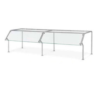 Vollrath 98651 Breath Guard with Top Shelf for 3-Well Single Sided Buffet - Glass/Stainl