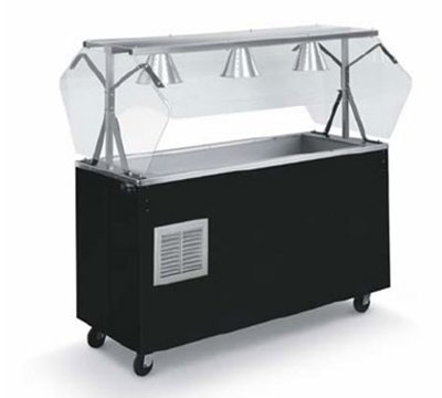 Vollrath R3896060 4-Well Cold Station with Lights - Buffet Breath Guard, Solid Base, Walnut 120v