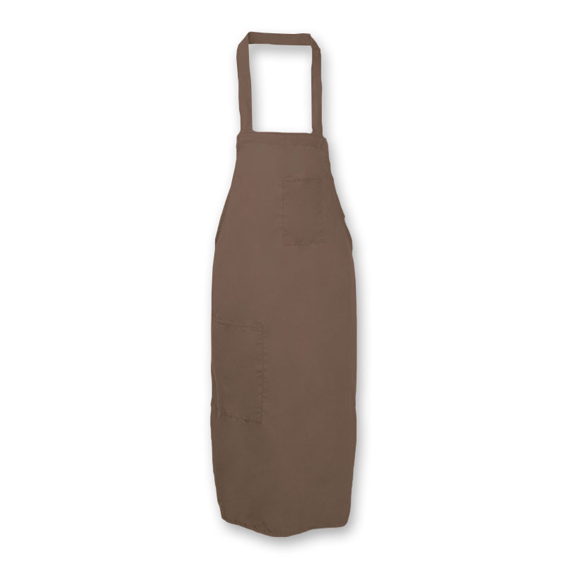 Intedge 335 B Bib Apron w/ Matching Tie, 32 x 28-in, Hip Pen Pocket, Brown