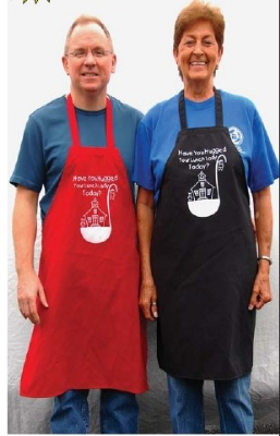Intedge 335LL BLK Lunch Lady Principal Bib Apron, 32