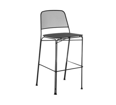 EmuAmericas 058 Stacking Barstool w/ Extended Steel Mesh Back & Seat, Foot Rest, Black