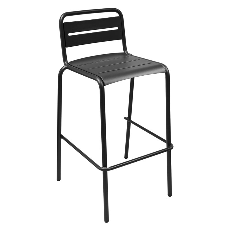 EmuAmericas 164 Stacking Barstool w/ Steel Slat Back & Steel Seat, Foot Rest, Black