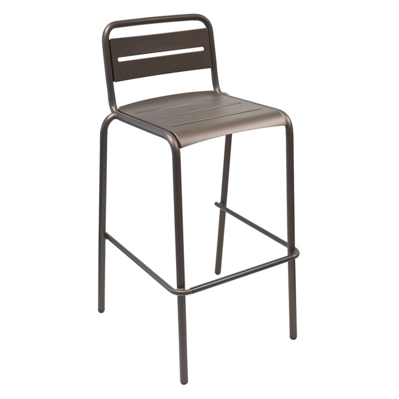 EmuAmericas 164 ABRONZE Stacking Barstool w/ Steel Slat Back & Steel Seat, Foot Rest, Bronze